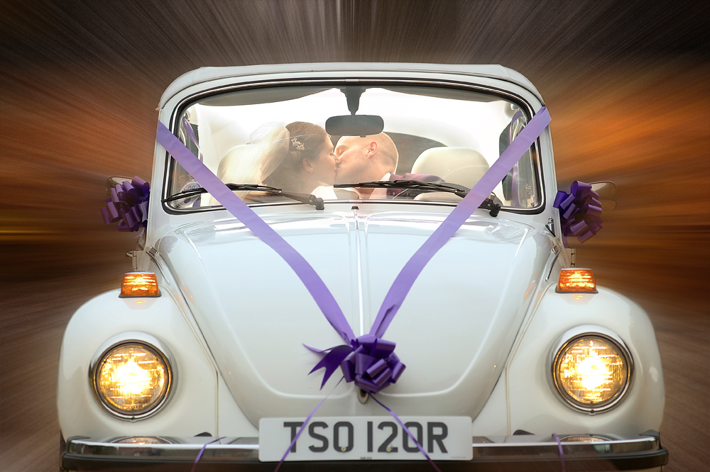 Rik & Anna Wedding vw Beetle car Dodford Manor final