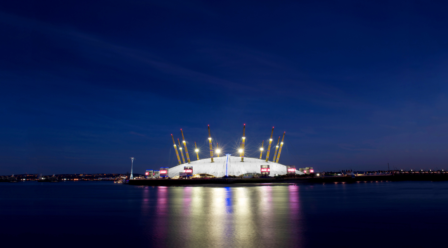the 02 venue night panorama
